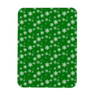 Christmas Green Snow Flurries Pattern Flexible Magnets