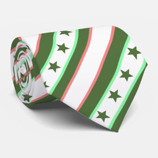 Christmas Green Stars and Stripes Pattern Tie