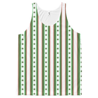 Christmas Green Stripes and Stars Pattern All-Over Print Tank Top