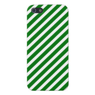 Christmas Green & White Diagonal Candy Cane Stripe iPhone 5/5S Cover