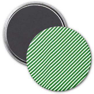 Christmas Green & White Diagonal Candy Cane Stripe Magnets