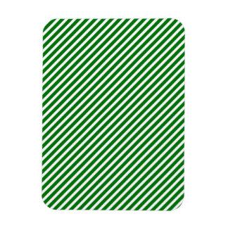 Christmas Green & White Diagonal Candy Cane Stripe Flexible Magnet