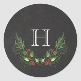 Christmas Greenery Classic Round Sticker