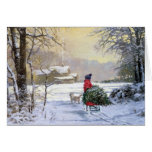 Christmas Greeting Card , child and Westie dog