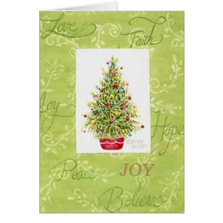 Christmas Greeting Card  Christmas Tree in Red Pot
