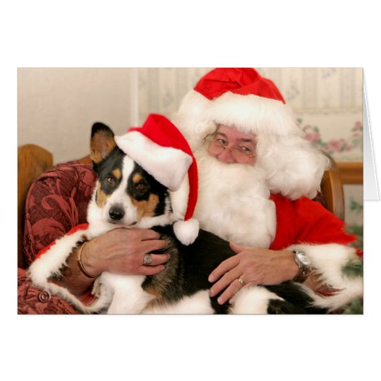 Christmas Greeting Card-Santa and his Welsh Corgi Card
