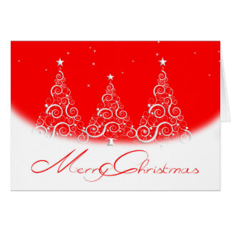 Christmas Greeting Card/Trees-Red Card