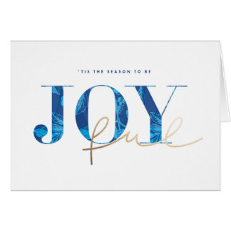 Christmas Greeting Card Vintage Blue Gold Joy