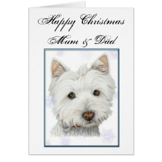 Christmas Greeting Card with Cute Westie Dog