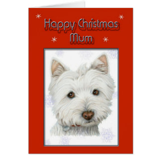 christmas greeting card, with cute westie dog greeting card