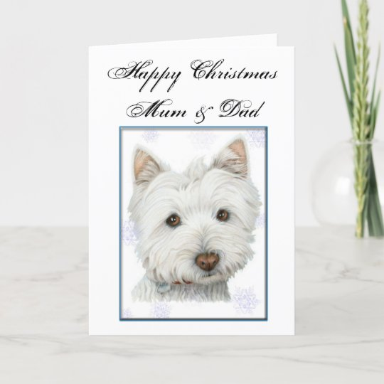 Christmas Greeting Card With Cute Westie Dog Holiday Card Zazzle