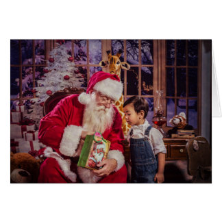 Christmas Greeting Card with Santa and Boy