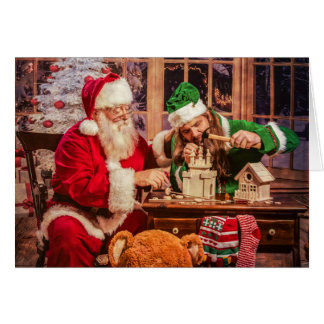 Christmas Greeting Card with Santa and Elf