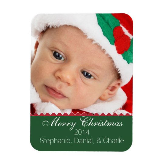 Christmas Greeting Custom Photo Magnet