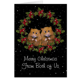 Christmas Greeting, Cute Hamster Couple, Holly Greeting Card