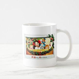 Christmas greeting kids playing with toys coffee mug