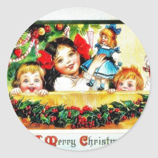 Christmas greeting kids playing with toys stickers