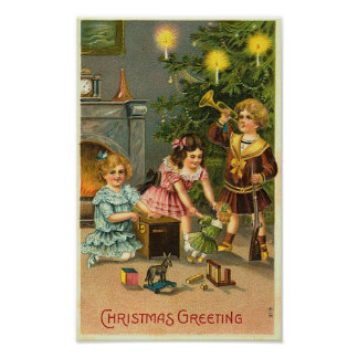 Christmas Greeting Kids, Tree, Toys Posters