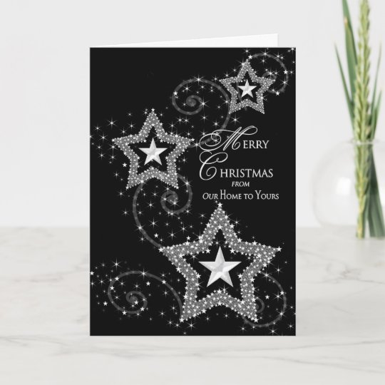 Christmas Greeting-Our Home to Yours Sparkly Stars