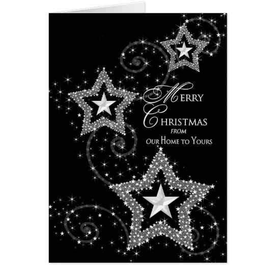 Christmas Greeting-Our Home to Yours Sparkly Stars Card