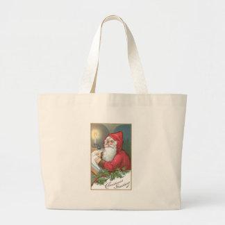 Christmas Greeting - Vintage Santa Canvas Bag