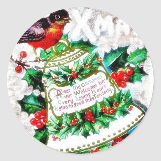 Christmas greeting with a bird sitting on the deco classic round sticker