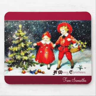 Christmas greeting with a boy dressed like an ange mouse pad