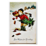 Christmas greeting with a boy has christmas tree a poster
