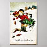 Christmas greeting with a boy has christmas tree a print