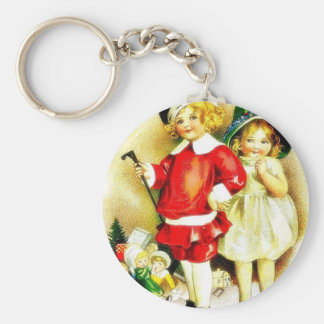 Christmas greeting with a boy holds a stick and st keychains