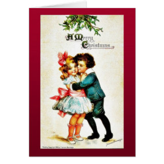 Christmas greeting with a boy hugs a girl card