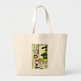 Christmas greeting with a girl holds ring in hand canvas bags