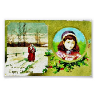 Christmas greeting with a girl photo and santa cla poster