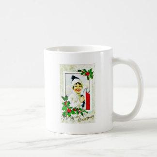 Christmas greeting with a girl photo frame mugs