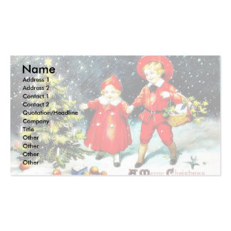 Christmas greeting with a lady walks with her chil business card template