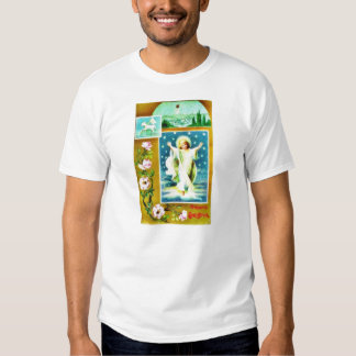 Christmas greeting with an apparition of infant je t-shirts