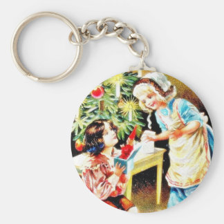 Christmas greeting with an old lady presents gifts key chain