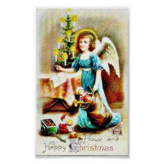 Christmas greeting with angel like girl hodling a poster