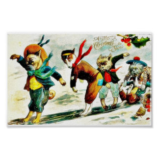 Christmas greeting with animals wore humad dress a poster