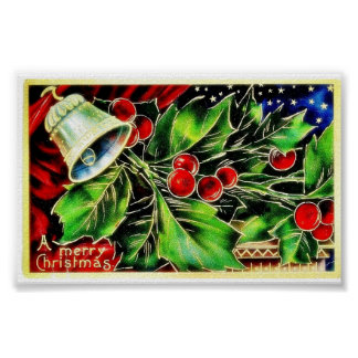 Christmas greeting with bell and holy leaves poster