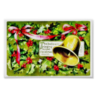 Christmas greeting with bell poster