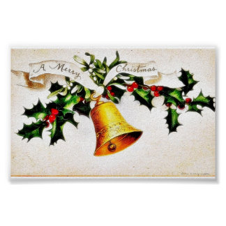 Christmas greeting with bell posters