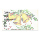 Christmas greeting with bells and holy leaves business card template