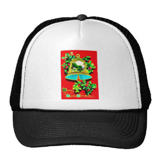 Christmas greeting with bells mesh hats