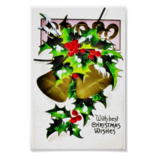 Christmas greeting with bells poster