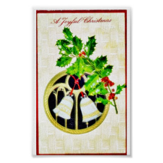 Christmas greeting with bells posters