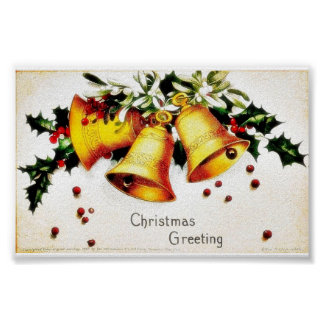 Christmas greeting with bells print