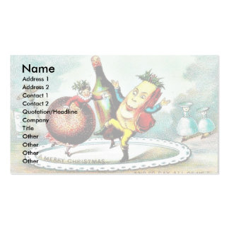 Christmas greeting with cartoon of wines and fruit pack of standard business cards