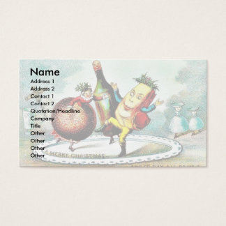 Christmas greeting with cartoon of wines and fruit business card