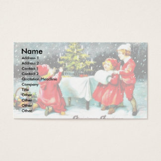 Christmas greeting with children playing around th business card